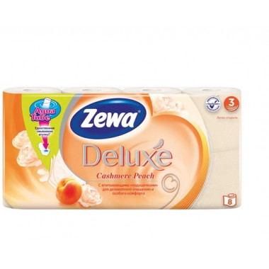 Бумага туалетная бытовая, спайка 8 шт., 3-х слойная (8х19 м), ZEWA Delux, аромат персика
