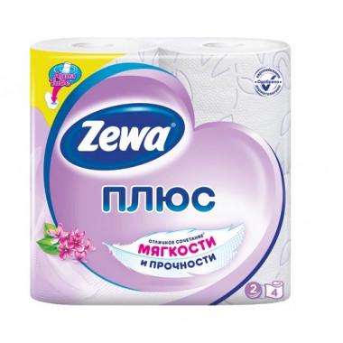 Бумага туалетная бытовая, спайка 4 шт., 2-х слойная (4х23 м), ZEWA Plus, аромат сирени
