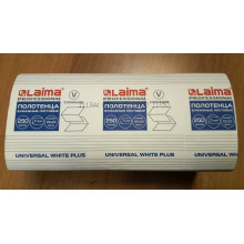 Полотенца бумажные 250 шт., LAIMA (Система H3), UNIVERSAL WHITE PLUS, 1-слойные, белые