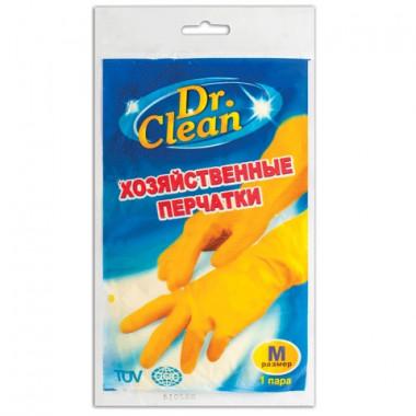 Перчатки хозяйственные латексные DR.CLEAN (Доктор Клин), без х/б напыления, рамер М